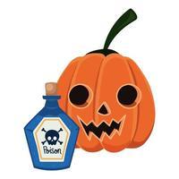 dibujos animados de calabaza de halloween y veneno