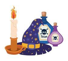 sombrero de bruja de halloween vela y diseño de venenos vector