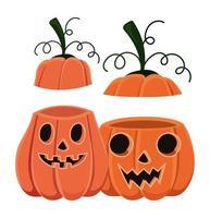 dibujos animados de dos calabazas de halloween con cubiertas