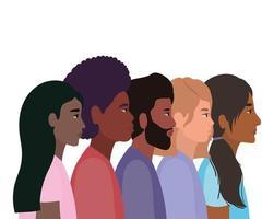 diversidad de pieles de dibujos animados de mujeres y hombres negros vector