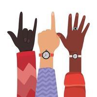 manos con el número uno y el signo de la roca vector