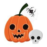 diseño de dibujos animados de calavera y araña de calabaza de halloween