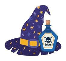 sombrero de bruja de halloween y diseño de veneno