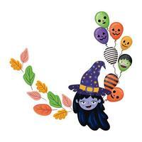 caricatura de bruja de halloween con diseño de hojas y globos
