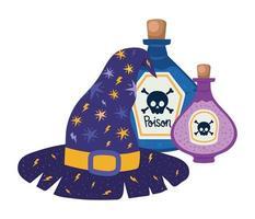 sombrero de bruja de halloween y diseño de venenos