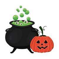 cuenco de bruja de halloween y diseño de calabaza