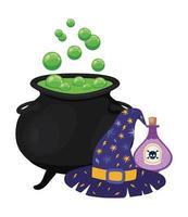 diseño de sombrero y veneno de cuenco de bruja de halloween