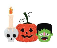 calavera de calabaza de halloween y diseño de dibujos animados de frankenstein