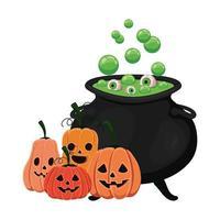 cuenco de bruja de halloween y diseño de calabazas