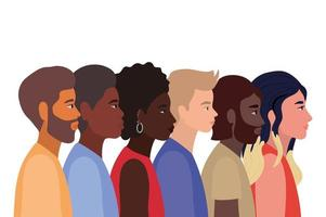 Diversity skins of black women and man cartoons vector