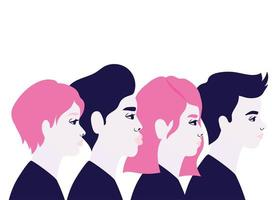 Woman and man cartoon in side view vector