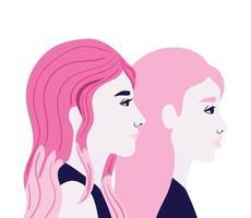 Women cartoons in side view in pink