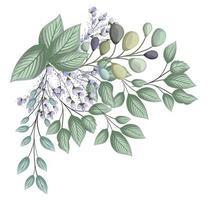 brotes azules flores con hojas ramo de pintura vector