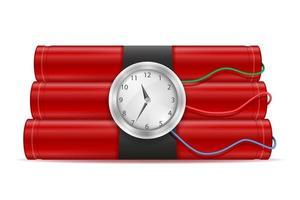 varilla roja de dinamita con fusible vector