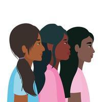 dibujos animados de mujeres negras en diseño de vista lateral