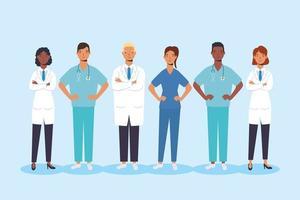 personal médico, personajes trabajadores esenciales. vector
