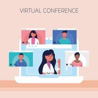 mujer en la computadora portátil para una conferencia telefónica virtual vector