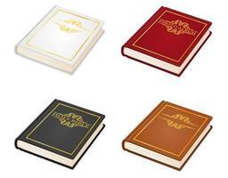 Old retro vintage book bible and photo album set vector