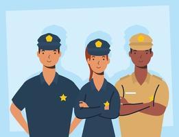 grupo de seguridad, personajes de trabajadores esenciales vector