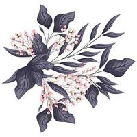 Pink buds flowers with leaves bouquet painting
