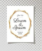 Wedding invitation with gold ornament frame vector