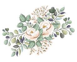 rosas blancas flores con capullos y hojas de pintura vector