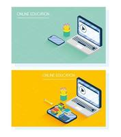 Online education and e-learning banner set with laptop