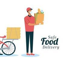 trabajador seguro de entrega de alimentos en línea vector