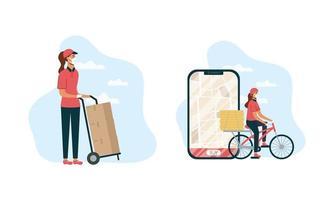 Safe online food delivery worker set