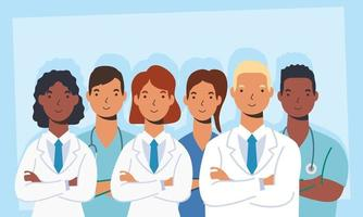 Medical staff, essential workers characters vector