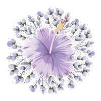 Buds around purple Hawaiian flower painting