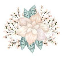 White flower with buds and leaves painting
