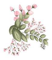 capullos rosas flores con hojas ramo pintura vector