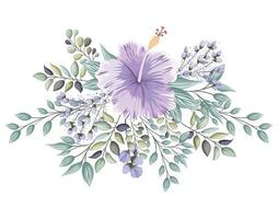 Purple Hawaiian flower with buds and leaves painting vector
