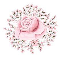 Buds around pink rose flower painting