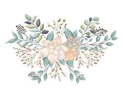 White flowers with buds and leaves painting vector