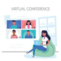 Woman on the laptop for a virtual conference call vector