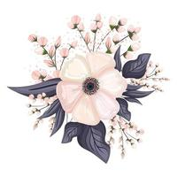 White flower with buds and leaves painting vector