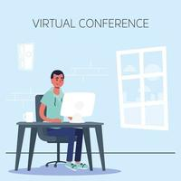 hombre que usa la computadora para una conferencia telefónica virtual vector
