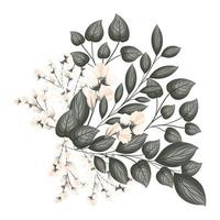 White buds flowers with leaves bouquet painting