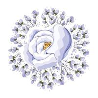 Buds around blue rose flower painting vector