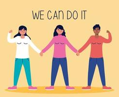 We can do it message with women together vector