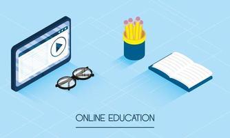 Banner de educación en línea y e-learning con tableta. vector
