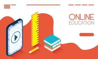 Banner de educación en línea y e-learning con teléfono inteligente.