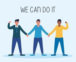 We can do it message with men together vector