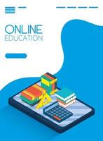Online education and e-learning banner with tablet vector