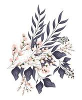 Pink buds flowers with leaves bouquet painting vector