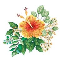 Orange Hawaiian flower with buds and leaves painting vector