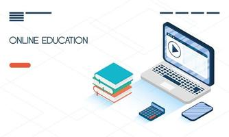 Online education and e-learning banner with laptop vector