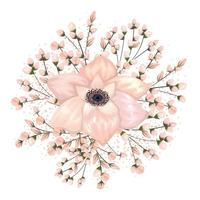 Buds around white flower painting design